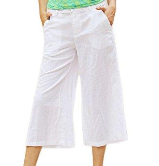 Women Capri Wide Leg Pants Drawstring Elastic Pure Color (White) - Intl