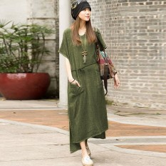 Women Casual Cotton Linen Dress Split Asymmetrical Long Maxi Vestidos Plus Size S-5XL Top