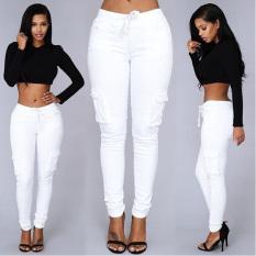 Women Drawstring Pockets Skinny Pencil Pants White - Intl