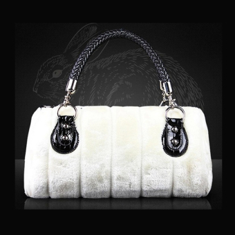 Women Elegant Fur Retro Autumn & Winter Comestic Evening Party Top Handle Bag Handbags (White) - Intl