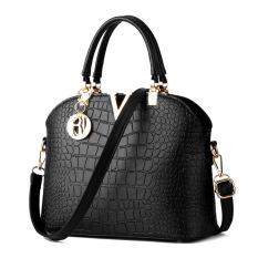 Women Famous Brand Designer Luxury Leather Handbags Women Messenger Bag Ladies Shoulder Bags Crocodile Pattern Crossbody (Black)