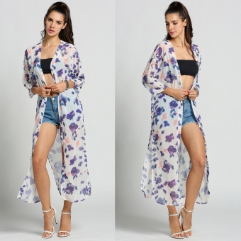 Women Fashion Casual Batwing 3/4 Sleeve Floral Print Side Slit Beach Cover Up Long Chiffon Blouse - Intl