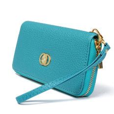 Women Fashion Long Leather Wallet Zip Purse Blue - Intl