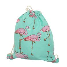 Women Flamingo Pattern Canvas Drawstring Backpack Shoulder Bag Handbag Beach Bag - Intl