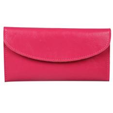 Women Genuine Leather Wallet Clutch Purse Handbag Bag Trifold Bifold Hot Pink