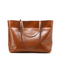 Women Handbags 100% Genuine Cow Leather Fashionable Tote Bags Casual Shoulder Bags Purses Brown Color - Intl