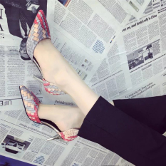 women high heels shoes summer new pointed shoes shallow mouth stiletto shoes color printing woven work shoes blue - intl