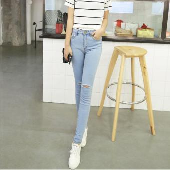 a7443ade2e3dfa Women High Waist Black Trousers Plus Thick Velvet Feet Pants Tight Stretch  Pencil Pants Light blue