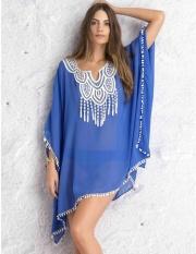 Women Kaftan Sarong Blouses Bathing Suit Beach Cover ups Bikinis Swimsuit Cover Up Beach Tunic Dress Lace Chiffon(Blue) - intl