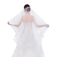 Women Ladies Elegant Tulle Bridal Veil 1.5M Vintage Lace Floral HemWedding Veil Trailing Veil for Bride Wedding Dress Accessories. 1Tier White - intl