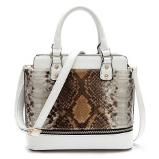 Women Lady Unique Elegant Snake Skin PU Tote Bag Handbag (Bronze Gray)