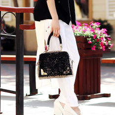 Women Leopard Handbag Bling Sequins Tote Purse PU Leather Evening Bag