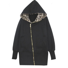 Women Leopard Hoodie Fleece Coats Zip Outwear Black - Intl