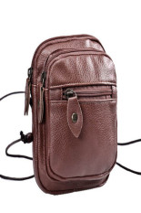 Women Men Retro Imitation Leather Shoulder Bag Satchel Pocket Messenger Brown - INTL