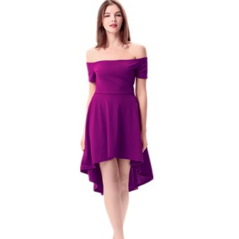8f135b803f Women Off Shoulder Sleeve High Low Skater Dress Swing Party Cocktail Formal  Dress Purple - intl