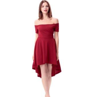 Women Off Shoulder Sleeve High Low Skater Dress Swing Party Cocktail Formal Dress  wine red - 22615ff18