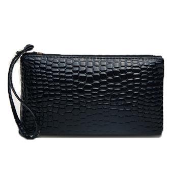 Women Portable Coin Wallet PU Leather Zipper Clutch Bag Handbag Purse Holdwordstrading (Black)
