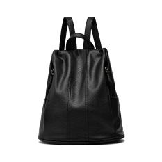 Women PU Leather Handbag Simple And Preppy Style Girls Purse Bookbag School Backpack Casual Shoulder Bag (Black)