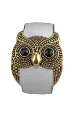 Women Retro Retro Black Eyes Golden Owl Shape Cuff Bangle Bracelet White