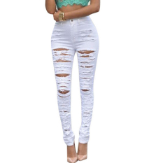 Women Sexy High Waisted Skinny Ripped Denim Pants Slim Pencil Jeans White - Intl