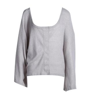 Women Sexy Loose Low-cut Neck Long Sleeves Solid Color Shirt Blouse (S)