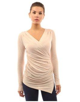 Women Sexy Slim V-neck Long-sleeved T-shirt Irregular Shirt Tops Beige (Intl)