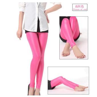 b99d3454431be5 Women Slim leather leggings Korean matt tight leather pants pencil pants  pink - intl