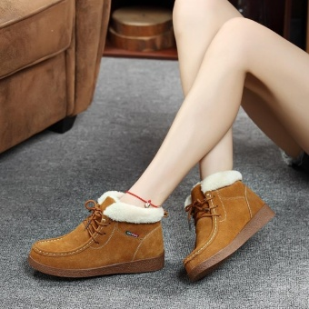 Women Snow Boots Cowhide Leather Ankle Boots Warm Winter Boots Woman Shoes (brown) - intl