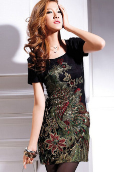 Women Summer Dress Fashion Casual Dress Knee-Length Embroidery Dress Elegant Vintage Vestidos Women Dress Plus Black - Intl