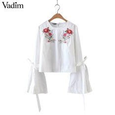 Women sweet flower embroidery flare sleeve shirt long sleeve with tie plaid blouse o neck ladies brand tops blusas LT1577 White - intl