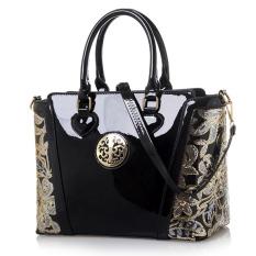 Women Top-Handle Bag Shoulder Bags PU Leather Handbags Solid Tote Bolsas Feminina Borse Female Herald Fashion Women Bag (Black-1)