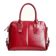 Women Vogue Real Genuine Leather Hobo Ladies Shoulder Bag Purse Handbag (Wine Red)