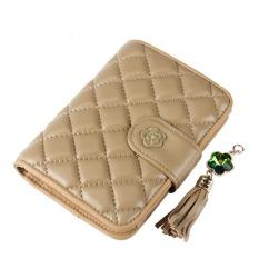 Women Wallet Bags Best Leather Plaid Zipper Tassel Clutch Purse Lady Short Handbag Bag (Beige)