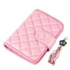 Women Wallet Bags Best Leather Plaid Zipper Tassel Clutch Purse Lady Short Handbag Bag (Pink)