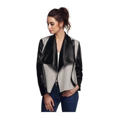 Women Wide Lapel Long Sleeve Contrast Color Side Zip Leather Jackets Coat Outwear (Grey) - Intl