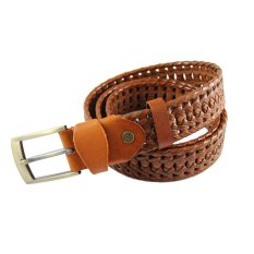 Women's Braided Belt Hollow Leather Belt Fashion Pin Buckle Leather Belt (Brown)