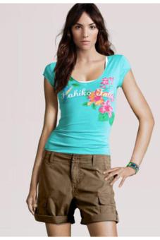 Women's Casual Deep O-neck Slim Short Sleeve T-shirt (Green)