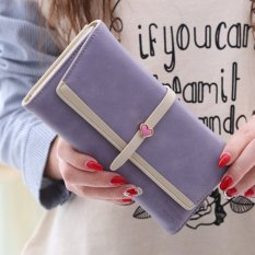 Women's Cover Pattern Drawstring Decoration Clutch Bifold Long Coin Purse (Lavender)