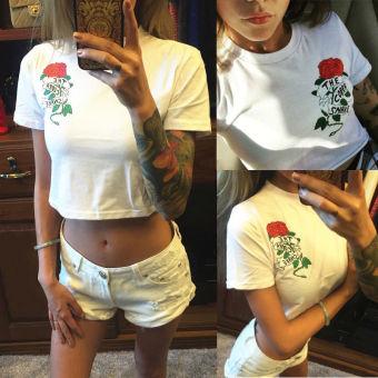 Women's Crop Top Summer Short Sleeve T-shirt Blouse - Intl