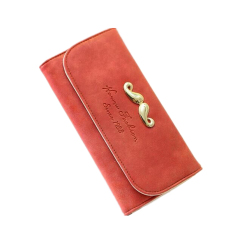Women's Fashion Frosted PU Leather Long Coin Purse Casual Folding Clutches (Orange)