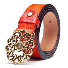 Womens Genuine Leather Belt Fashion Belts Orange 115cm - Intl