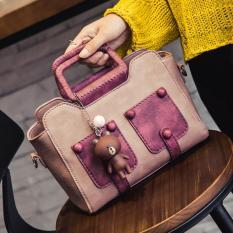 Women's Handbag 2017 Autumn New Satchel Korean Style Fashion Rivet Leisure Shoulder Bag Crossbody Bag - Pink - Intl