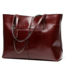 Women's Handbag Genuine Leather Tote Shoulder Bags Soft Hot Wine Red
