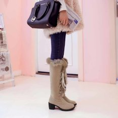 Women's High -heeled Boots Slip On Rough With The Knight Boots Big Yards (Beige) - Intl
