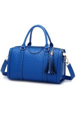 Women's Hollow Out Tassel Pendant PU Casual Handbag Tote Bags (Blue)