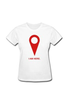 Women's I Am Here Gps Arrow Personalize T-Shirt For White
