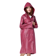 Womens Ladies Girls Portable Fashion Polka Dot Long Poncho Hooded Raincoat With Long Sleeves Travel Reuseable Showerproof Waterproof Rain Jacket Travel Rainwear Red