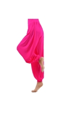 Women's Ladies Loose Long Harem Belly Dance Yoga Pants Comfy Boho Wide Leg Sport Trousers - Size XL Rosy