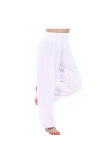 Women's Ladies Loose Long Harem Belly Dance Yoga Pants Comfy Boho Wide Leg Sport Trousers - Size XL White