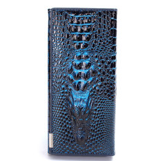 Womens Leather Wallets Holders Crocodile Medium-Long Purse Dark Blue